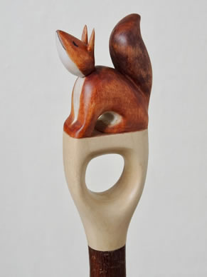 Red squirrel thumb grip walking stick